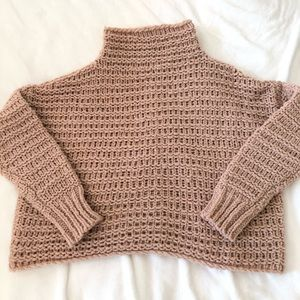 freepeople blush wooven knit turtleneck sweater